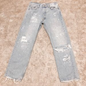 Zara distressed ankle jeans
